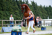 GBR-Sara Bowe presents Kilcoltrim Meremist during the First Horse Inspection for the CCI-L 4*. 2021 GBR-Bicton International Horse Trials. Devon. Great Britain. Copyright Photo: Libby Law Photography