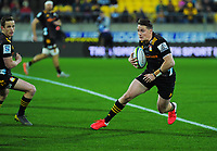 Kaleb Trask in action during the Super Rugby Aotearoa match between the Hurricanes and Chiefs at Sky Stadium in Wellington, New Zealand on Saturday, 8 August 2020. Photo: Dave Lintott / lintottphoto.co.nz