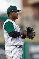 Fort Wayne TinCaps third baseman Carlos Belen (19) in action against the West Michigan Whitecaps on May 23, 2016 at Parkview Field in Fort Wayne, Indiana. The TinCaps defeated the Whitecaps 3-0. (Andrew Woolley/Four Seam Images)