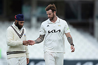 Amar Virdi (L) and Jordan Clark (R) of Surrey CCC during Surrey CCC vs Hampshire CCC, LV Insurance County Championship Group 2 Cricket at the Kia Oval on 1st May 2021