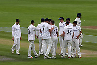 Sussex players congratulate Stuart Meaker after taking the wicket of Glamorgan batsman, David Lloyd during Sussex CCC vs Glamorgan CCC, LV Insurance County Championship Group 3 Cricket at The 1st Central County Ground on 5th July 2021