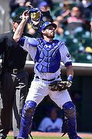Taylor Teagarden (30) of the Iowa Cubs looks for a foul ball against the New Orleans Zephyrs at Principal Park on April 23, 2015 in Des Moines, Iowa.  The Zephyrs won 9-2.  (Dennis Hubbard/Four Seam Images)