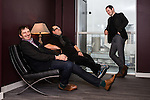 "© Joel Goodman - 07973 332324 . 07/11/2014 .  Salford Quays , UK . Jim Poyser , Justin Moorhouse and Mike Perls who have launched "" Working Men's Productions "" to produce northern comedy for television . Photo credit : Joel Goodman"