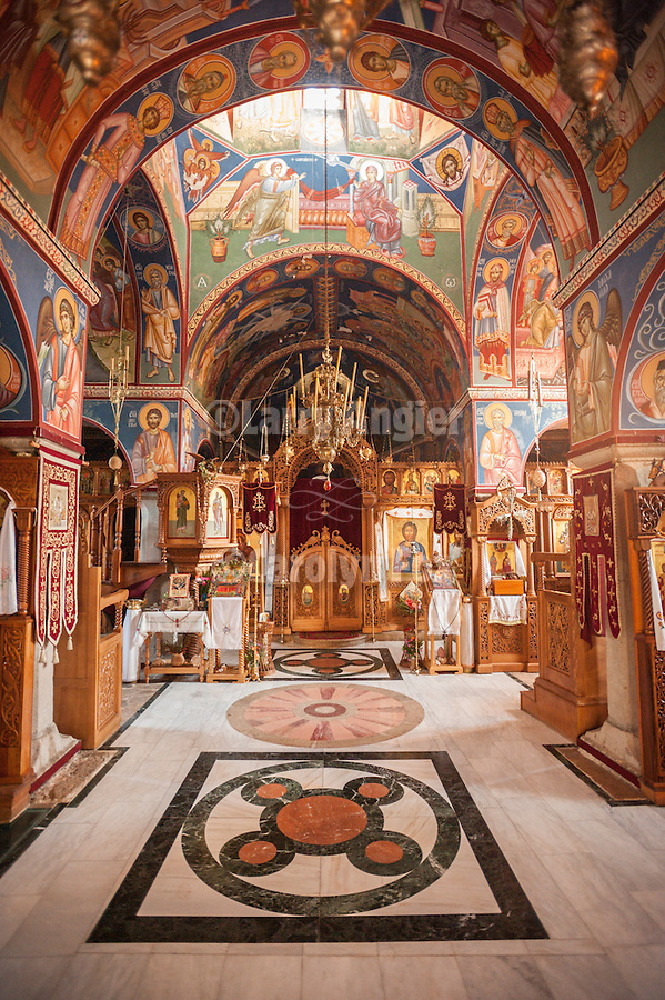 Interior of the The Tvrdos Monastery founded in the 4th Centruy by King Constantine<br /> <br /> Tvrdos is a Serb Orthodox monastery near the city of Trebinje, Republika Srpska, Bosnia and Herzegovina. The 4th-century foundations of the first Roman church on the site are still visible today. The Orthodox monastery was established there in the 15th century, with a cathedral constructed about 1508 and painted with murals by Vicko Lavrov from Dubrovnik in 1517. The monastery remained a seat of the Metropolitans of Herzegovina until the Ottoman Turks destroyed it in 1694. The current building of the monastery was constructed in 1924.