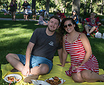 Brandon Eaton and Heather Deangeli during the Feed the Camel food truck night at the McKinley Arts Center in Reno on Wednesday, June 28, 2017.