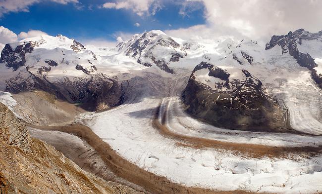 the Gornergletscher glacier viewed from Gornergrat. Zermatt .