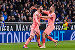 Lionel Messi of FC Barcelona celebrates his goal with Jordi Alba (R) during the La Liga 2018-19 match between RDC Espanyol and FC Barcelona at Camp Nou on 08 December 2018 in Barcelona, Spain. Photo by Vicens Gimenez / Power Sport Images