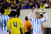 Argentina defender Lucas Orban (3) on a throw in. Argentina and Ecuador played to a 0-0 tie during an international friendly at MetLife Stadium in East Rutherford, NJ, on November 15, 2013.