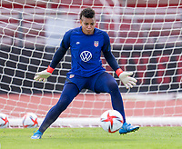 HOUSTON, TX - JUNE 8: Adrianna Franch #21 of the USWNT makes a save during a training session at the University of Houston on June 8, 2021 in Houston, Texas.