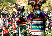 Zuni Pueblo dancers preforming traditional dances at Bandelier National Monument, New Mexic