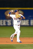 Buffalo Bisons shortstop Munenori Kawasaki (66) throws to first on the run during a game against the Gwinnett Braves on May 13, 2014 at Coca-Cola Field in Buffalo, New  York.  Gwinnett defeated Buffalo 3-2.  (Mike Janes/Four Seam Images)