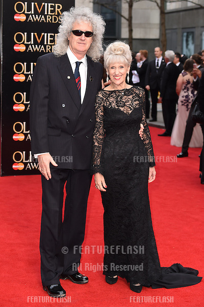 Brian May and wife, Anita Dobson arrives for the Olivier Awards 2015 at the Royal Opera House Covent Garden, London. 12/04/2015 Picture by: Steve Vas / Featureflash