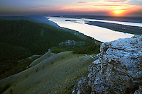 "Sunset over Volga river in Russian National Park ""Samarskaya Luka"""