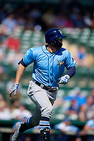 Tampa Bay Rays designated hitter Austin Meadows (17) runs to first base after hitting a home run in the top of the fourth inning during a Grapefruit League Spring Training game against the Baltimore Orioles on March 1, 2019 at Ed Smith Stadium in Sarasota, Florida.  Rays defeated the Orioles 10-5.  (Mike Janes/Four Seam Images)
