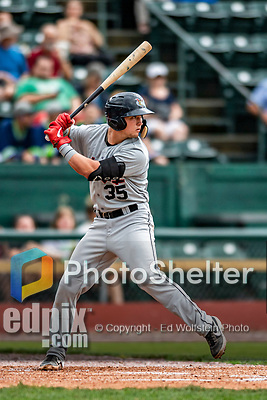 21 July 2019: Tri-City ValleyCat catcher Korey Lee in action against the Vermont Lake Monsters at Centennial Field in Burlington, Vermont. The Lake Monsters rallied to defeat the ValleyCats 6-3 in NY Penn League play. Mandatory Credit: Ed Wolfstein Photo *** RAW (NEF) Image File Available ***
