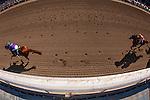 APRIL 5, 2014: California Chrome, ridden by Victor Espinoza defeats Hoppertunity to win the Santa Anita Derby at Santa Anita Park in Arcadia CA. Alex Evers/ESW/CSM