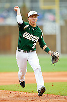 Brad Elwood #2 of the Charlotte 49ers makes a throw to third base during the game against the Saint Peter's Peacocks at Robert and Mariam Hayes Stadium on February 18, 2012 in Charlotte, North Carolina.  Brian Westerholt / Four Seam Images