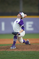 High Point Panthers relief pitcher KJ Wells (30) in action against the Campbell Camels at Williard Stadium on March 16, 2019 in  Winston-Salem, North Carolina. The Camels defeated the Panthers 13-8. (Brian Westerholt/Four Seam Images)