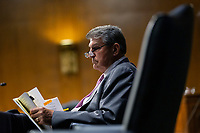 United States Senator Joe Manchin III (Democrat of West Virginia) listens during a United States Senate Committee on Veteran's Affairs hearing on Capitol Hill in Washington D.C., U.S., on Wednesday, June 3, 2020.  Credit: Stefani Reynolds / CNP/AdMedia