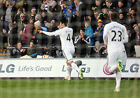 SWANSEA, WALES - FEBRUARY 21: Ki Sung Yueng of Swansea celebrates his equaliser during the Barclays Premier League match between Swansea City and Manchester United at Liberty Stadium on February 21, 2015 in Swansea, Wales.