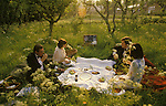 Glyndebourne Festival Opera East Sussex UK drinks on one of the lawns during the interval, between acts during the opera. 1985.<br /> Ms Sarah Horner and friends.