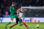 Jorge Resurreccion Merodio, Koke (R), of Atletico de Madrid fights for the ball with Aleksey Miranchuk of FC Lokomotiv Moscow during the UEFA Europa League 2017-18 Round of 16 (1st leg) match between Atletico de Madrid and FC Lokomotiv Moscow at Wanda Metropolitano  on March 08 2018 in Madrid, Spain. Photo by Diego Souto / Power Sport Images
