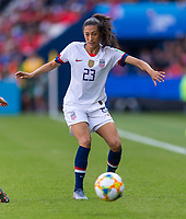 PARIS,  - JUNE 16: Christen Press #23 passes during a game between Chile and USWNT at Parc des Princes on June 16, 2019 in Paris, France.