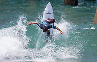 Huntington Beach, CA - Tuesday July 31, 2018: Peterson Crisanto in action during a World Surf League (WSL) Qualifying Series (QS) Men's round of 96 heat at the 2018 Vans U.S. Open of Surfing on South side of the Huntington Beach pier.