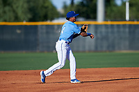 AZL Royals shortstop Enrique Valdez (4) throws to first base during an Arizona League game against the AZL Brewers Blue at Surprise Stadium on June 18, 2019 in Surprise, Arizona. AZL Royals defeated AZL Brewers Blue 12-7. (Zachary Lucy/Four Seam Images)
