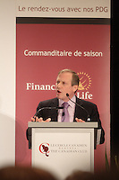 September 26 2012 - Montreal Quebec CANADA - Louis Audet, President & CEO of COGECO et Cogeco Cable, at the Canadian Club of Montreal's podium.<br /> <br /> What is Cogeco? A cable distributor? A broadcaster? No one can claim to truly know this major telecommunications industry player better than its President and CEO, Louis Audet. Under his guidance, Cogeco Cable has become the second-largest cable distribution company in Québec and Ontario, serving nearly 900,000 subscribers from Gaspé to Windsor. Cogeco Cable, through Cogeco Data Services, operates data centres for its business customers in both provinces. Today, Cogeco Diffusion, a COGECO Inc. affiliate company, is a leading Quebec radio broadcaster with 13 stations and provides news services to 47 radio stations across the province. Through Cogeco Métromédia, the company also offers specialized media representation services in the public transit signage sector in major Québec and Canadian cities. In addition, within a very few months Cogeco Cable will expand its cable distribution operations to the United States following its recent acquisition of Atlantic Broadband.