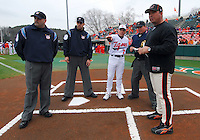 Clemson head coach Jack Leggett points out the ground rules prior to a game between the Mercer Bears and Clemson Tigers at Doug Kingsmore Stadium on Feb. 24, 2008, in Clemson, S.C. Clemson won 10-3. Photo by:  Tom Priddy/Four Seam Images