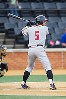 Andrew Amaro (5) of the Maryland Terrapins at bat against the Wake Forest Demon Deacons at Wake Forest Baseball Park on April 4, 2014 in Winston-Salem, North Carolina.  The Demon Deacons defeated the Terrapins 6-4.  (Brian Westerholt/Four Seam Images)