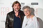 """Spanish actor Javier Bardem with his mother Pilar Bardem attends to the premiere of """"Ma Ma"""" at Capitol Cinemas in Madrid, Spain. September 09, 2015. <br /> (ALTERPHOTOS/BorjaB.Hojas)"""