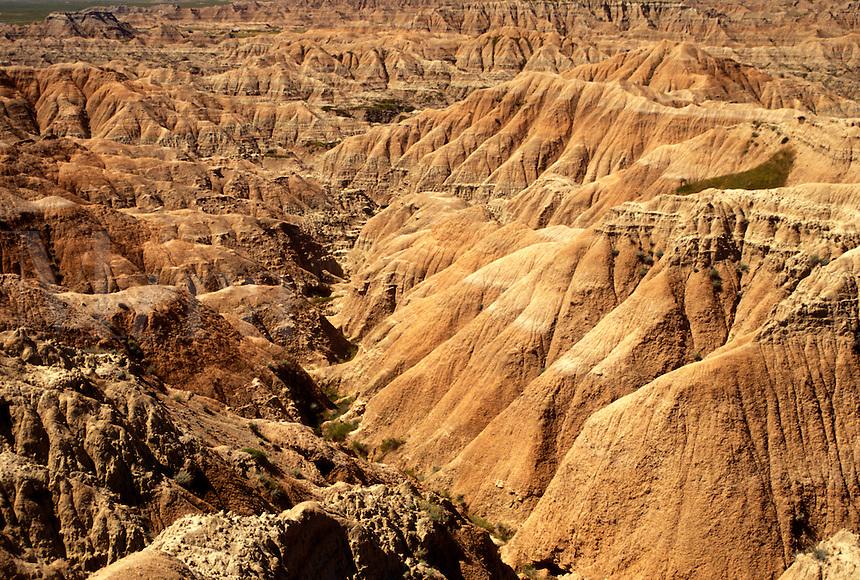 The Badlands, Badlands National Park, SD, South Dakota, Scenic view of rock formations in Badlands Nat'l Park in South Dakota.