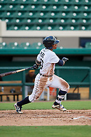 Detroit Tigers Wenceel Perez (80) follows through on a swing during a Florida Instructional League game against the Pittsburgh Pirates on October 6, 2018 at Joker Marchant Stadium in Lakeland, Florida.  (Mike Janes/Four Seam Images)