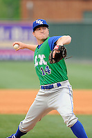 Relief pitcher Alex Black(14) of the Lexington Legends in a game against the Greenville Drive on Sunday, April 27, 2014, at Fluor Field at the West End in Greenville, South Carolina. Greenville won, 21-6. (Tom Priddy/Four Seam Images)