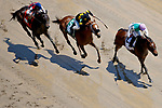 LOUISVILLE, KY - MAY 06: Breaking Lucky #2, ridden by Javier Castellano, wins the Alysheba Stakes ahead of December Seven #5, ridden by Corey Lanerie, and Flashy Jewel #7, ridden by Joe Bravo, on Kentucky Derby Day at Churchill Downs on May 6, 2017 in Louisville, Kentucky. (Photo by Jon Durr/Eclipse Sportswire/Getty Images)