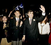 FILE -  Mario Dumont, son epouse (G)  et Lucien Bouchard, lorsque les partisans du OUI  tiennent un grand rassemblement a l'auditorium de Verdun (date exacte inconnue)<br /> <br /> PHOTO : Agence Quebec Presse