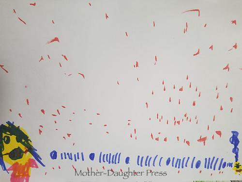 """Keeping Distance"" Drawing by Maria Muayad, Grade 2, Yarmouth, ME, USA"