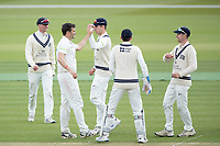 Team mates congratulate Tim Murtagh, Middlesex CCC following the wicket of Tom Lace, Gloucestershire CCC during Middlesex CCC vs Gloucestershire CCC, LV Insurance County Championship Group 2 Cricket at Lord's Cricket Ground on 7th May 2021