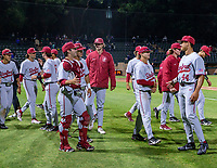 STANFORD, CA - JUNE 7: Team celebration after a game between UC Irvine and Stanford Baseball at Sunken Diamond on June 7, 2021 in Stanford, California.