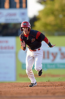 Batavia Muckdogs right fielder Harrison White (40) running the bases during a game against the Lowell Spinners on July 11, 2017 at Dwyer Stadium in Batavia, New York.  Lowell defeated Batavia 5-2.  (Mike Janes/Four Seam Images)