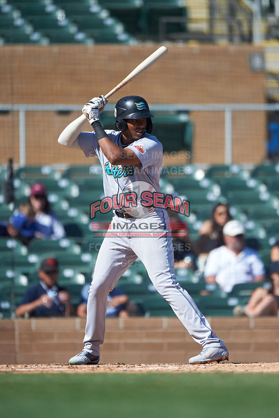 Salt River Rafters Jerar Encarnacion (27), of the Miami Marlins organization, at bat during the Arizona Fall League Championship Game against the Surprise Saguaros on October 26, 2019 at Salt River Fields at Talking Stick in Scottsdale, Arizona. The Rafters defeated the Saguaros 5-1. (Zachary Lucy/Four Seam Images)