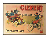 BNPS.co.uk (01202 558833)<br /> Pic: Dreweatts/BNPS<br /> <br /> Pictured: This Parisian poster depicting automobiles and bicyles from 1905 is on sale for £700<br /> <br /> A glamorous collection of early French motorsport posters has emerged for sale with a British auction house for £25,000.<br /> <br /> The earliest examples date from 1900 showing well-heeled Parisians chauffeured in vintage cars on the capital's streets.<br /> <br /> The vehicles are flanked by marching bands with passengers in their finest clothes to reinforce the element of prestige.<br /> <br /> There is a striking 1902 French poster of a British Mulberry car in the Scottish Highlands, while another celebrates the 1934 Grand Parade Vichy.