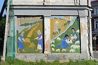 Wandbild am Rozu Laukums (alter Markt) in Cesis, Lettland, Europa