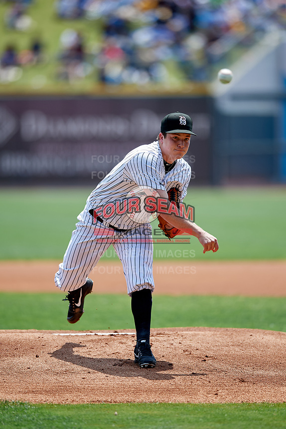 Birmingham Barons starting pitcher Jordan Stephens (30) delivers a pitch during a game against the Pensacola Blue Wahoos on May 9, 2018 at Regions FIeld in Birmingham, Alabama.  Birmingham defeated Pensacola 16-3.  (Mike Janes/Four Seam Images)