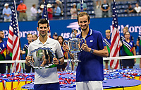 12th September 2021: Billie Jean King Tennis Center; New York, USA:  US Opten Tennis Championships, Mens singles final,  Novak Djokovic versus Daniil Medvedev:  Djokovic and winner Medvedev with trophies