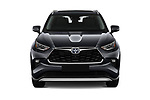 Car photography straight front view of a 2021 Toyota Highlander Premium-Plus 5 Door SUV Front View