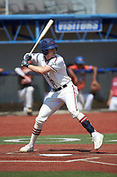 Zach Gelof (26) (UVA) of the High Point-Thomasville HiToms at bat against the Old North State League West All-Stars at Hooker Field on July 11, 2020 in Martinsville, VA. The HiToms defeated the Old North State League West All-Stars 12-10. (Brian Westerholt/Four Seam Images)