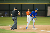 AZL Cubs shortstop Luis Vazquez (1) is called out at third base by umpire Ray Patchen during a game against the AZL Giants on September 7, 2017 at Scottsdale Stadium in Scottsdale, Arizona. AZL Cubs defeated the AZL Giants 13-3 to win the Arizona League Championship Series two games to one. (Zachary Lucy/Four Seam Images)
